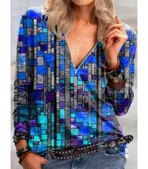 camicetta a maniche lunghe con cerniera stampata geometrica con scollo a v per donna