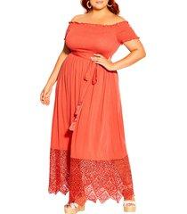 plus size women's city chic off the shoulder maxi dress, size medium - orange
