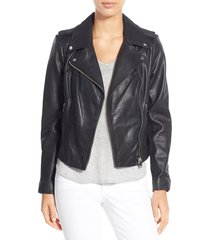 women's lamarque donna lambskin leather moto jacket, size small - black