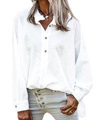 camicetta larga per donna con colletto alla coreana a maniche lunghe tinta unita