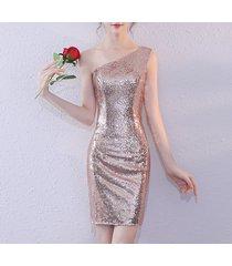 rose gold one shoulder short sequin dress wedding bridesmaid short sequin dress