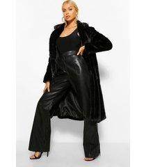 lange jas faux fur met enkele knoop, black