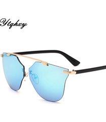 cat eye aviator sunglasses women vintage fashion metal frame mirror sun glasses