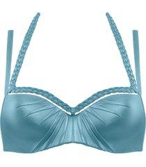 holi glamour plunge balcony bikini top | wired padded aqua blue - 32dd/e