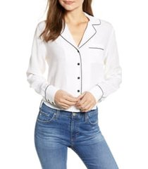 women's rails amara silk blouse, size large - white