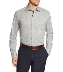men's big & tall david donahue trim fit dress shirt, size 18.5 - 36/37 - grey