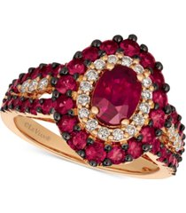 le vian certified passion ruby (2 ct. t.w.) & diamond (1/4 ct. t.w.) ring in 14k rose gold
