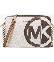 mk borsa a tracolla jet set grande bicolore con logo - brown multi - michael kors