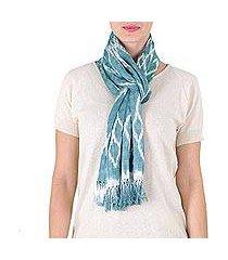 cotton scarf, 'solola aqua' (guatemala)