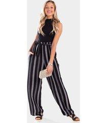 dasha striped palazzo jumpsuit - black