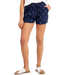 style & co petite printed drawstring shorts, created for macy's