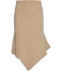 draped rib knit skirt knälång kjol beige designers, remix