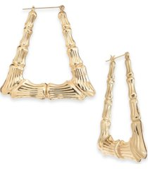 thalia sodi gold-tone bamboo triangle medium hoop earrings, created for macy's