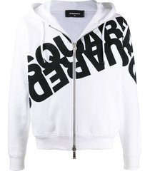 dsquared2 mirrored logo zip-up hoodie - white