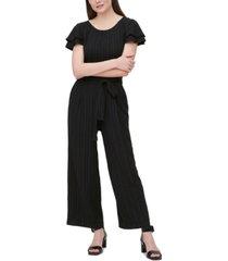 calvin klein stripe-textured belted jumpsuit