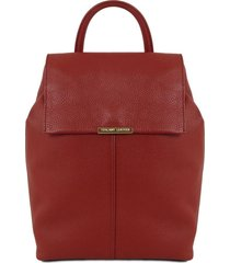 tuscany leather tl141706 tl bag - zaino donna in pelle morbida rosso