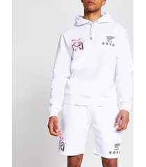 river island mens white back print regular fit hoodie