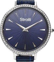 orologio solo tempo con cinturino in pelle blu e cassa in acciaio silver per donna