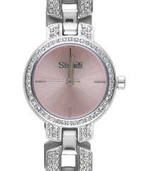 versailles 3h orologio in acciaio silver con quadrante rose gold e bracciale con strass per donna