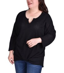 ny collection women's plus size twist front long sleeve pullover top
