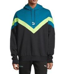 puma men's iconic mcs colorblock hoodie - black - size l