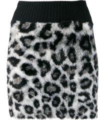 alberta ferretti leopard print mini skirt - grey
