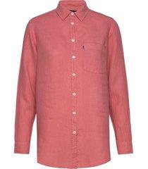 isa linen shirt overhemd met lange mouwen roze lexington clothing
