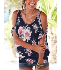atado con hombros descubiertos y estampado floral al azar en azul marino en la espalda camiseta causal
