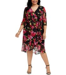 connected plus size tie-belted surplice dress