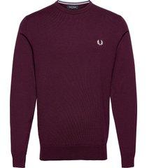 classic c/n jumper stickad tröja m. rund krage röd fred perry