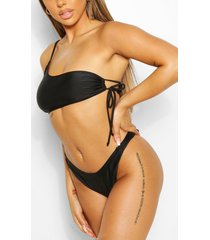 mix & match one shoulder tie side bikini top, black