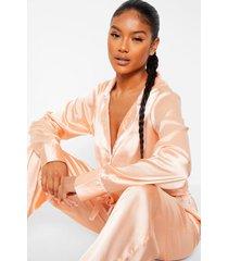 satijnen pyjama set met lange broek met strik, blush