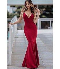 vestido sereia longo decote v