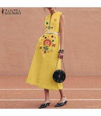 zanzea simmer mujeres del partido de tarde del club camisa floral del vestido de la impresión de la playa vestido del tanque -amarillo
