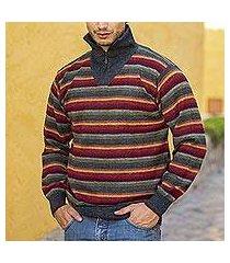 men's 100% alpaca pullover sweater, 'blue heights' (peru)