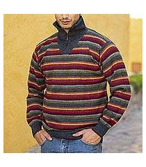 men's 100% alpaca pullover sweater, 'blue heights' (peru)