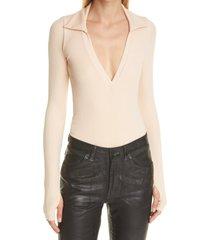women's alix monterey long sleeve bodysuit, size large - beige