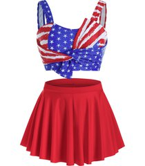 plus size american flag twisted three pieces skirted tankini swimwear