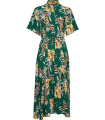 claribel floral midi shrt dres jurk knielengte groen french connection