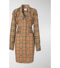 burberry vintage check silk and cotton shirt dress