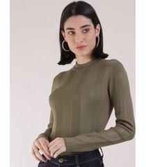 blusa feminina básica em tricô manga longa verde escuro