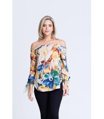 blusa clara arruda viscose ombro a ombro 20390 - feminino