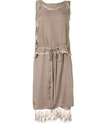 maison mihara yasuhiro lace trim shift dress - brown