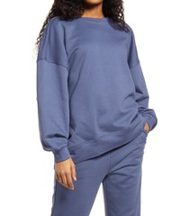 women's aware by vero moda onia oversize sweatshirt, size large - blue