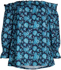 ava & aiden women's off-the-shoulder floral top - navy - size xs