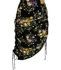 molly floral drawstring asymmetric pencil skirt