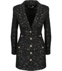 alessandra rich sequin tweed v neck mini dress
