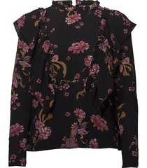 blouse w frills blus långärmad svart sofie schnoor