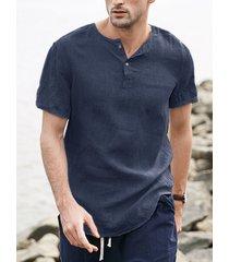 incerun camiseta de manga corta con botones de lino y algodón de verano para hombre