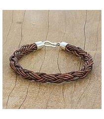 braided leather bracelet, 'thai insight in chestnut' (thailand)